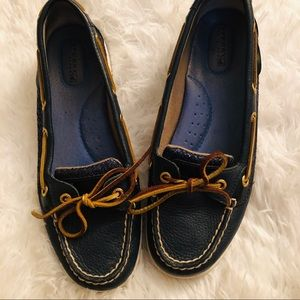 Sperry Top Sider women's blue sequin boat shoes 8M